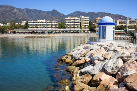 costa del sol: Breakwater on sea bay in popular resort city of Marbella on Costa del Sol in Southern Andalusia, Spain, Malaga province.