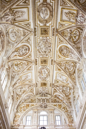 Ornate Italian Renaissance style ceiling of the Mezquita Cathedral interior in Cordoba, Spain. Stock Photo - 14466996