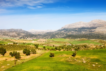 Andalusia landscape, hills covered with green meadows and fields, mountains on the horizon in southern Spain, Malaga province.