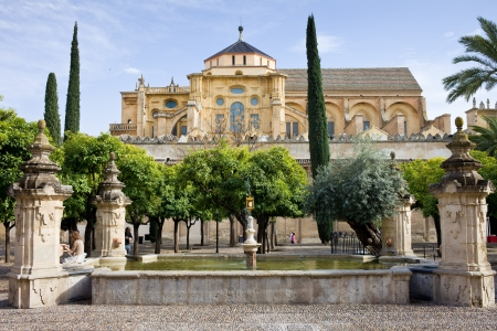 Patio of the orange trees (Patio de los Naranjos) at the Mezquita (Cathedral Mosque) in Cordoba, Andalusia, Spain.