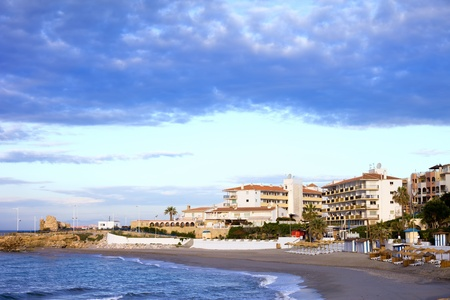 nerja: Morning on Costa del Sol in resort town of Nerja at the Mediterranean Sea in southern Spain.