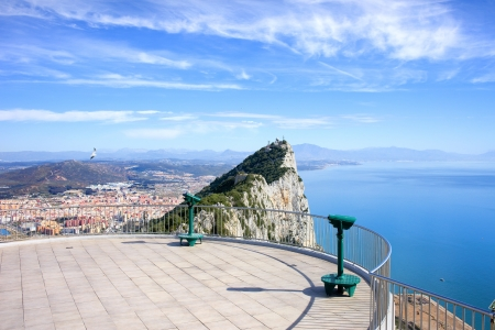 gibraltar: View point on the top of Gibraltar rock, on the far left La Linea town in Spain, on the right Mediterranean Sea.