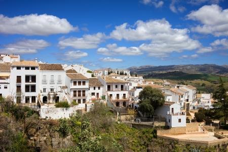 blanco: Scenic white town (Spanish: Pueblo Blanco) of Ronda on a hill in Andalusia region of Spain, Malaga province. Stock Photo