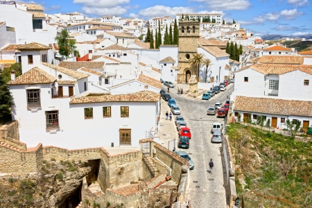 blanco: White Town (Pueblo Blanco) of Ronda medieval residential architecture in Spain, Andalusia region.