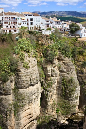 White houses of Ronda town on a high cliff in Andalusia region of Spain, Malaga province