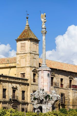 san rafael: Triumph of Saint Rafael monument and Palacio Episcopal historic facade in Cordoba, Spain, Andalusia region  Editorial