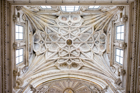 vaulted ceiling: Mezquita Cathedral historic ornate ribbed vault ceiling of the transept in Cordoba, Spain. Editorial