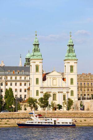 14th century: 14th century Inner City Parish Church and Danube river in Budapest, Hungary.