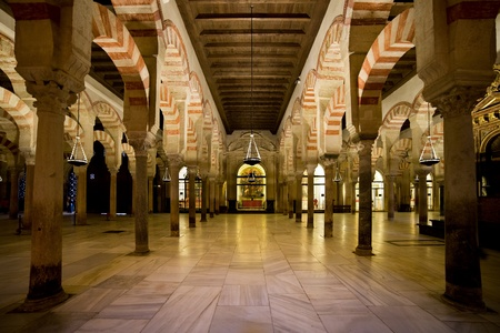Hypostyle Prayer Hall in the Mezquita (The Great Mosque) with columns of jasper, onyx, marble, and granite supporting double arches in Cordoba, Spain.