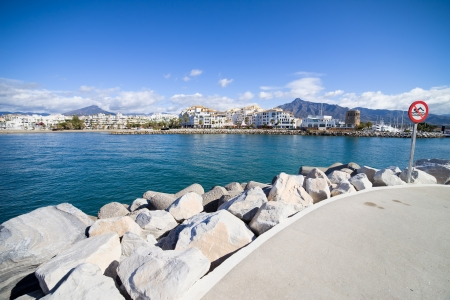 Entrance to the Puerto Banus marina near Marbella on Costa del Sol, Andalusia, southern Spain. photo