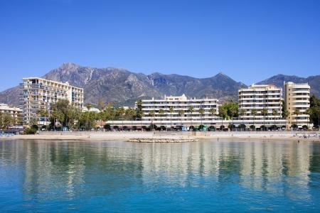 condominium complex: Apartment buildings by Mediterranean Sea in resort town of Marbella on Costa del Sol in Spain, Andalusia, Malaga province.