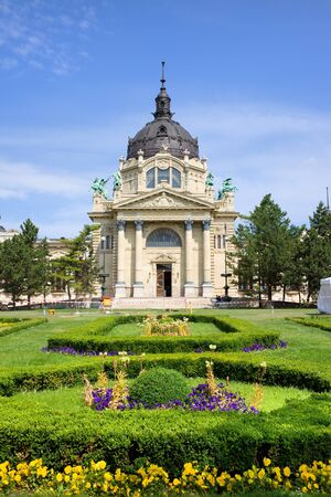 Szechenyi Medicinal Thermal Baths and Spa Baroque architecture in Budapest, Hungary. photo