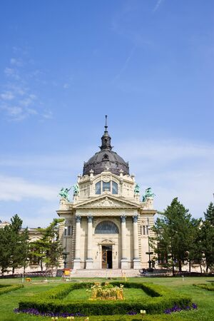 Szechenyi Medicinal Thermal Baths and Spa Neo-Baroque architecture in Budapest, Hungary. photo