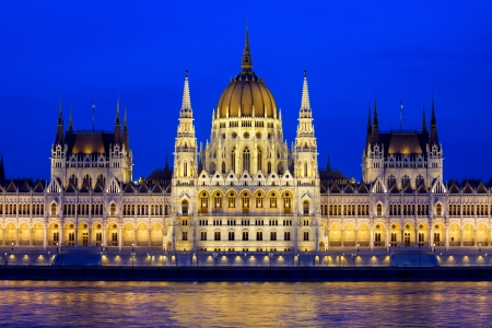 Budapest Parliament building at evening in Hungary. Stock Photo - 15656571