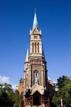 parish: 19th century Roman Catholic parish church of Ferencvaros in Budapest, Hungary. Stock Photo