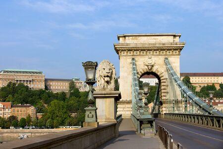 szechenyi: City of Budapest urban scenery, street on the Szechenyi Chain Bridge (Hungarian: Szechenyi lanchid).