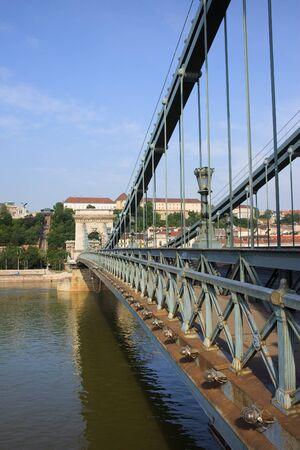 szechenyi: Wrought iron metal structure of the Szechenyi Chain Bridge in Budapest, Hungary. Stock Photo