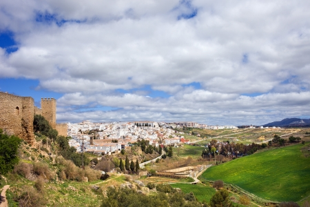blanco: White Town (Pueblo Blanco) of Ronda and scenic Andalusia countryside in southern Spain, Malaga province.