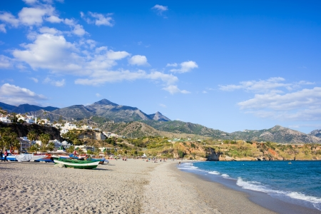 del: Burriana beach at the Mediterranean Sea in Nerja, Spain, Costa del Sol, southern Andalusia region.