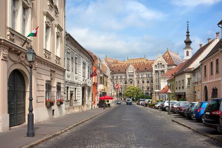 castle district: Fortuna street in Castle District, Budapest, leading to the National Archives of Hungary. Editorial