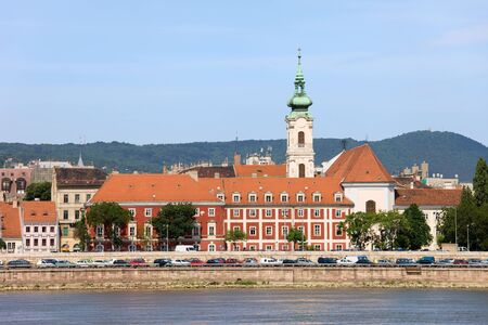 Budapest cityscape in Hungary (Buda side) with historic tenement houses at the Danube River waterfront. photo