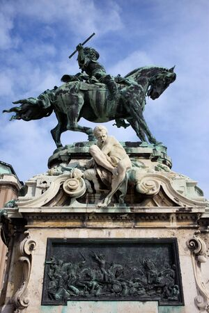 eugene: Statue of Prince Eugene of Savoy from 1897 and relief that commemorates the Battle of Zenta in 1697, located in Budapest, Hungary, next to the Buda Castle.