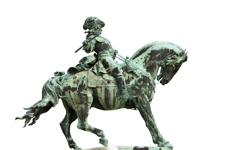 eugene: Statue of Prince Eugene of Savoy from 1897, isolated on white background, originally located in front of the Buda Castle in Budapest, Hungary.