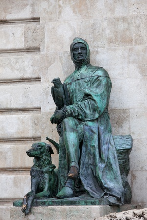 Historian Galeotto Marzio statue at the Royal Palace (Buda Castle), part of the Matthias Fountain in Budapest, Hungary.