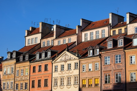 Apartment houses in the Old Town of Warsaw, Poland. Фото со стока