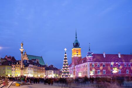 Christmas Time at the Old Town of Warsaw in Poland, illuminated at evening. photo