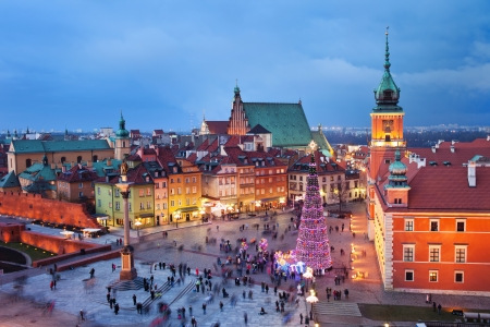Beautiful Old Town of Warsaw in Poland illuminated at evening, during Christmas time.