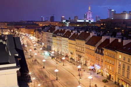 Krakowskie Przedmiescie street at night, part of the Royal Route in the city of Warsaw, Poland. 写真素材