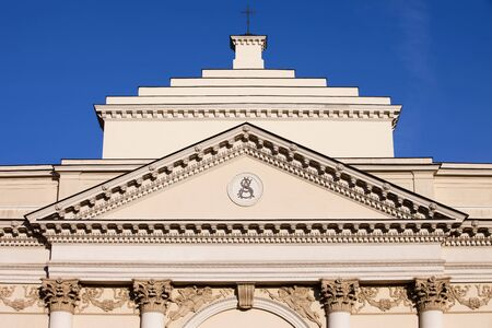 neoclassical: Neoclassical St. Annes Church architectural details, built in 18th century in Warsaw, Poland. Stock Photo