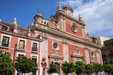 el: Baroque style church of El Salvador from 17-18th century in Seville, Andalusia, Spain.