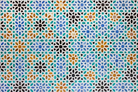 mudejar: Azulejos tile work in the Mudejar Style, old historical background in the Real Alcazar, Seville, Spain, Andalusia region.