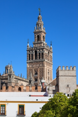 real renaissance: La Giralda, bell tower of the Seville Cathedral in Spain, part of the Real Alcazar on the first plan.