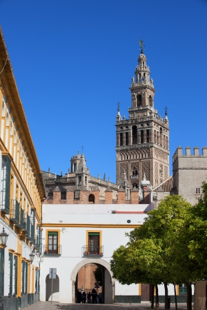 real renaissance: City of Seville historic architecture in Spain, La Giralda tower of Seville Cathedral and part of the Real Alcazar on the first plan.