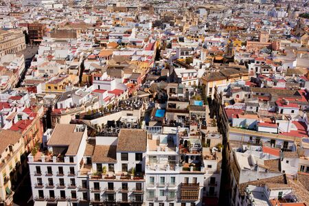 tenement: View from above over the Seville, capital city of Andalusia region in Spain. Stock Photo