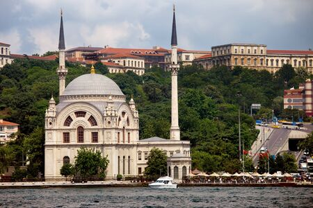 Dolmabahce Mosque Baroque style architecture, view from the Bosphorus Strait in Istanbul, Turkey. Stock Photo - 18464407