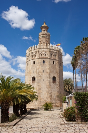 13th century: Torre del Oro (Gold Tower), medieval landmark from early 13th century in Seville, Spain, Andalusia region.