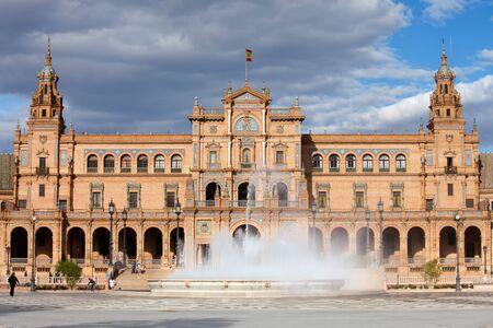Plaza de Espana (Spains Square) Renaissance Revival style pavilion and fountain in Seville, Andalusia, Spain. photo