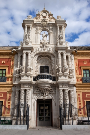 historical building: Palace of San Telmo 18th century Baroque style portal in Seville, Spain, Andalusia region.