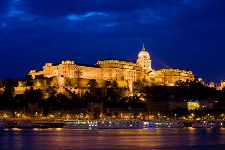 buda: Buda Castle (Royal Palace) by the Danube river illuminated at night in Budapest, Hungary.