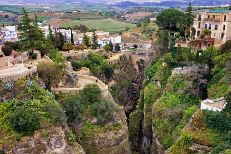 City of Ronda on high cliffs of El Tajo Gorge in Spain, Andalusia region. photo