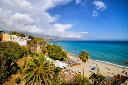 Calahonda Beach in resort town of Nerja, Costa del Sol, Andalucia, Spain. Фото со стока