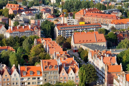 gdansk: City of Gdansk cityscape in Poland, view from above.