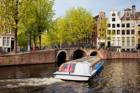 Picturesque scenery of Herengracht canal in the city of Amsterdam, Holland.
