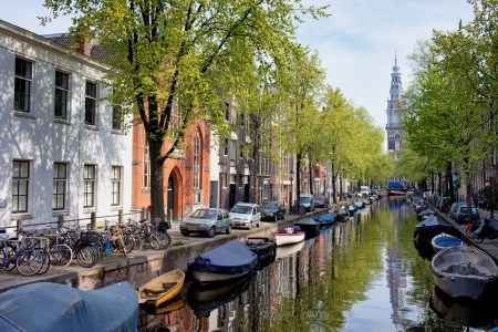 Groenburgwal canal in the old city of Amsterdam, Netherlands, North Holland province. Stock Photo - 20218184