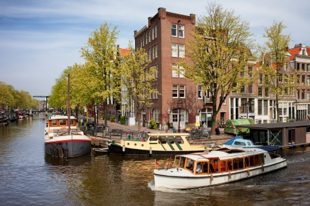 Prinsengracht and Brouwersgracht canals in city of Amsterdam, Netherlands, North Holland province. photo
