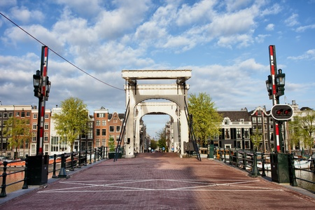 amstel: Skinny Bridge (Dutch: Magere Brug) over the Amstel river in Amsterdam, Netherlands, North Holland province. Stock Photo